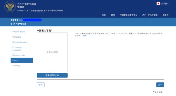 ウラジオストクへの電子ビザ・簡易ビザ申請画面その9