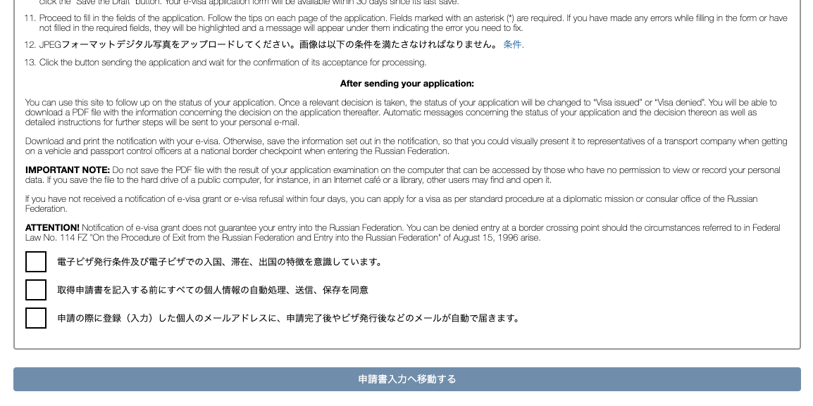 ウラジオストクへの簡易電子ビザ・簡易ビザ(eビザ)の申請画面その1