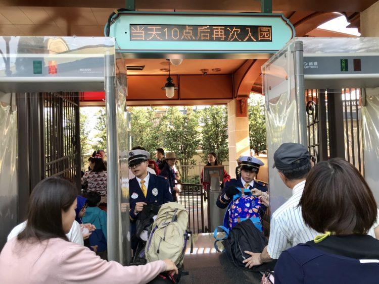 上海ディズニーランド 手荷物検査