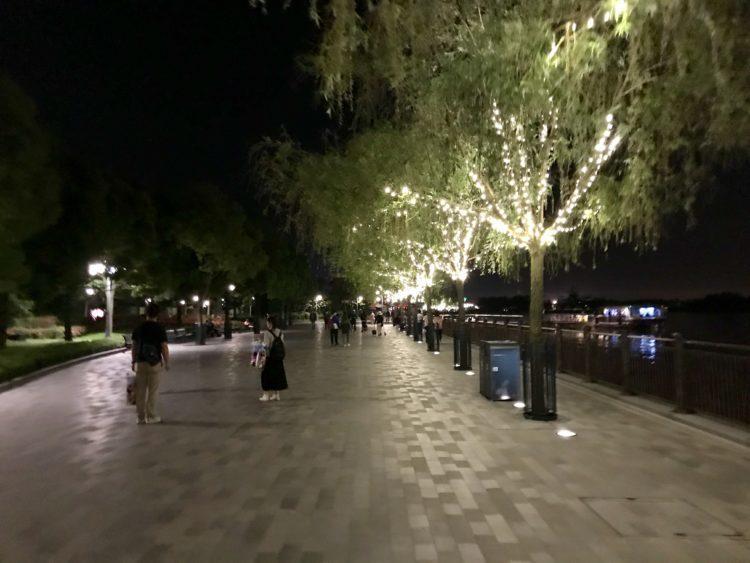 上海ディズニーランド夜のフェリー乗り場へ続く道