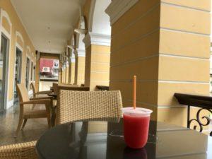 マカオの世界遺産の代表 聖ポール天主堂跡前の売店でスイカジュースを購入して一休み