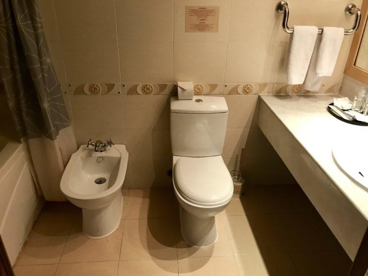 ウラジオストク ベルサイユホテルの客室内バスルームの便器とビデ