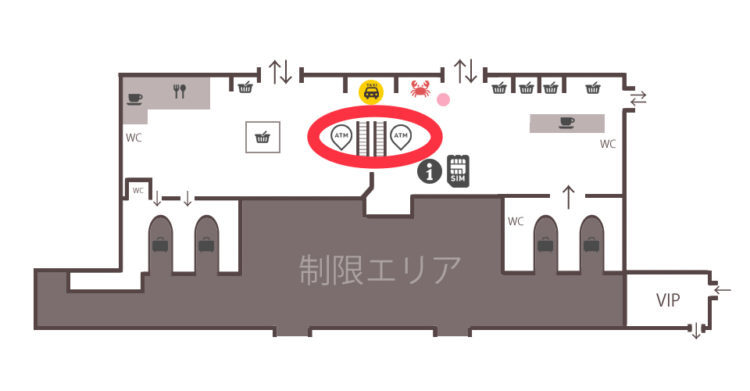ウラジオストク空港内両替不要のキャッシングATM案内図MAP(マップ)