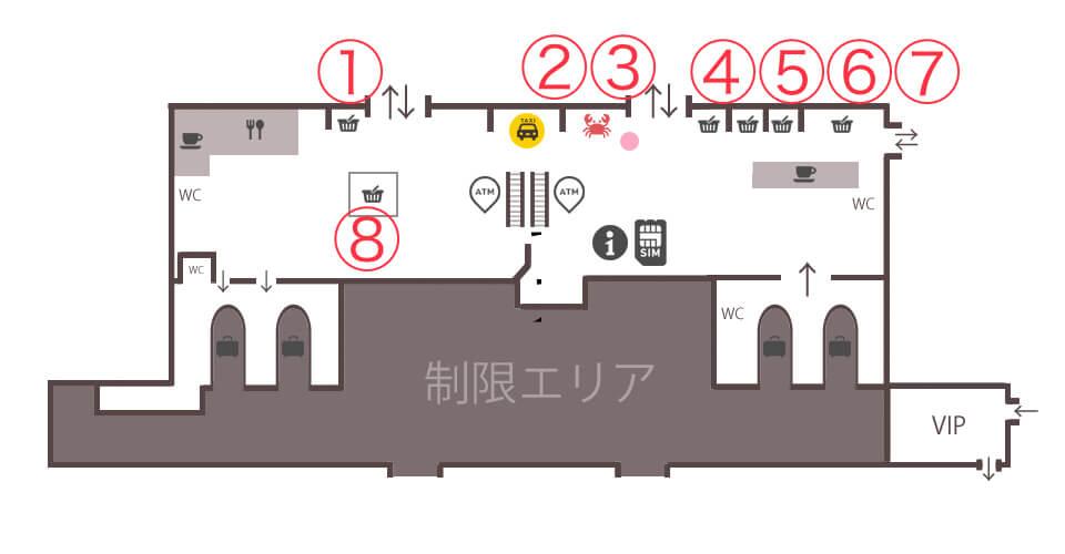 ウラジオストク空港内お土産屋&レストラン・カフェ案内図MAP(マップ)
