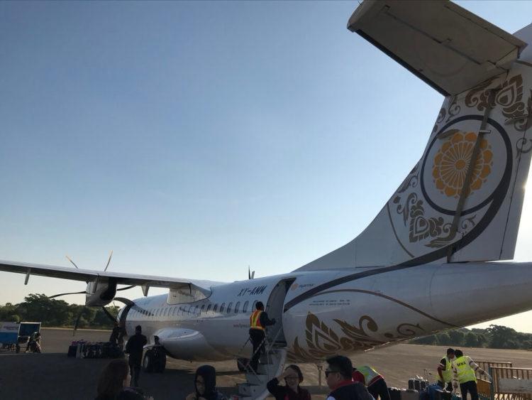 ヤンゴンから世界三代仏教遺産バガンへ向かうはミャンマー国営航空のプロペラ機