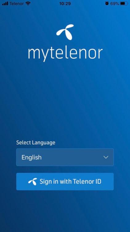 ミャンマーの携帯会社Telenorアプリのログイン画面