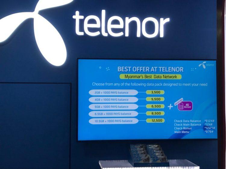ヤンゴン空港のTelenorのSIMカードの料金表