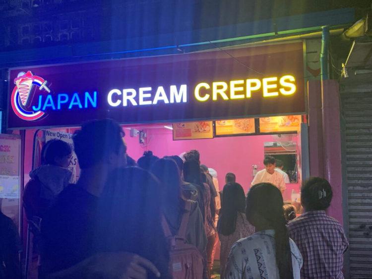 ヤンゴン市レーダンにあるヤンゴン初上陸の日本のクレープ屋さん、Japan Cream Crapes