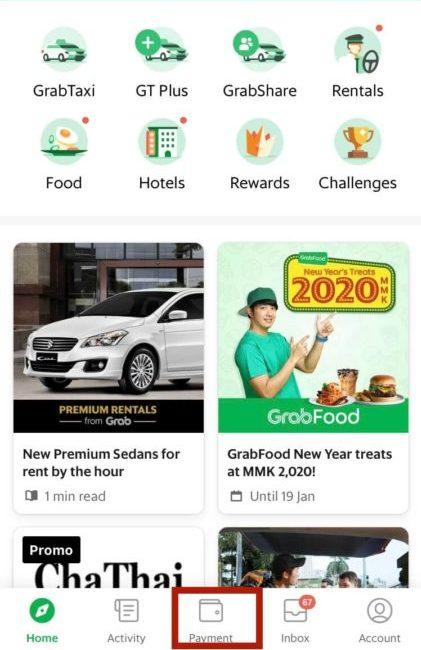 ヤンゴン空港から市内へ移動するにはGrabタクシーがオススメ。Grabタクシーの初期設定画面