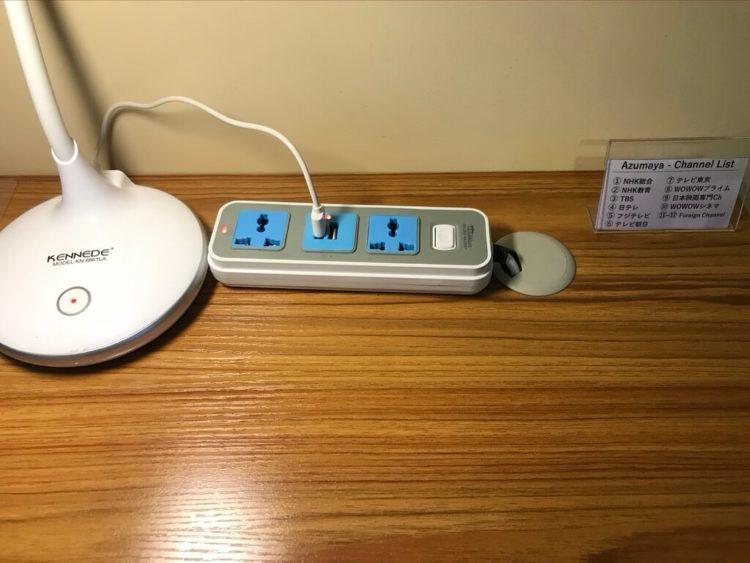 露天風呂温泉とサウナと夜景を堪能できるミャンマーの東屋ホテルの客室の電源タップ