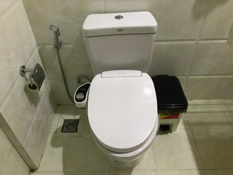露天風呂温泉とサウナと夜景を堪能できるミャンマーの東屋ホテルの客室内のバスルームのトイレ