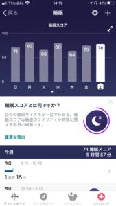 フィットビット チャージ4(fitbit charge 4)の睡眠計測後の睡眠スコア