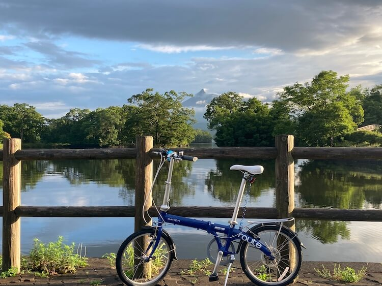 Nバンから出したdahonの折りたたみ自転車で大沼公園を一周しようとしたら、、、