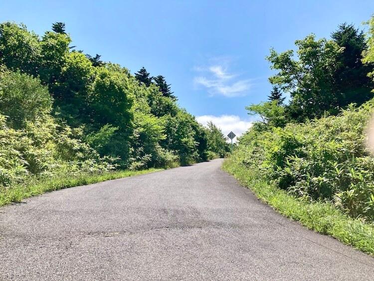 折りたたみ自転車で利尻島一周野塚展望台から白い恋人の丘(沼浦展望台)へ続く坂道
