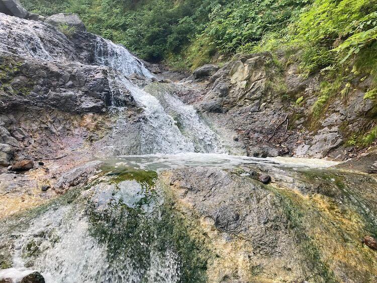カムイワッカ湯の滝一の滝、二の滝、さん