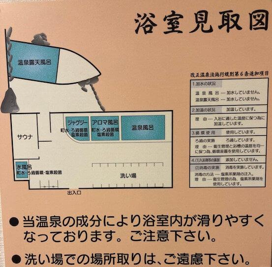 湯巡り日本一周Nバン車中泊22湯目 道の駅みついし 昆布温泉蔵三(くらぞう)の浴室見取り図