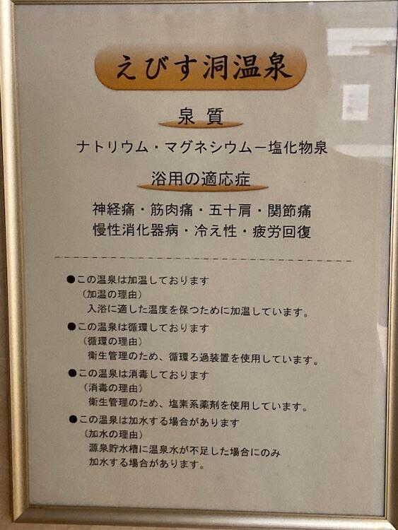 湯巡り日本一周Nバン車中泊29湯目 ホテル白い灯台の日帰り温泉の温泉成分表。