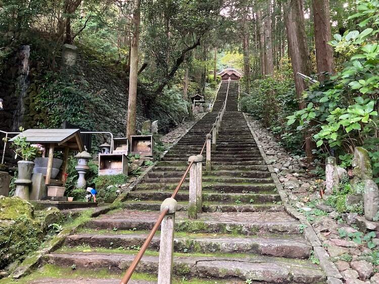 独鈷山 青竜寺(しょうりゅうじ)の本堂へ続く階段