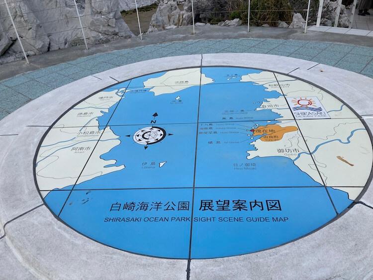 【白崎海洋公園】日本のエーゲ海?イヤ、どう見てもドラクエ3 展望台案内図