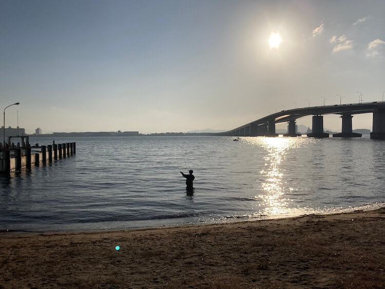 Nバン日本一周車中泊57日目 道の駅 びわ湖大橋 米プラザから琵琶湖大橋を望む