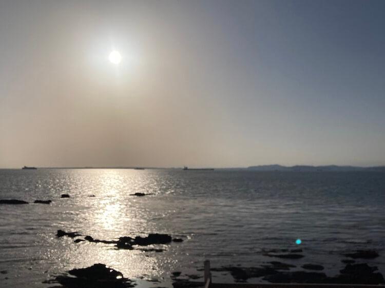 湯巡り日本一周Nバン車中泊 58湯目 天然温泉 海辺の湯露天風呂からの眺望