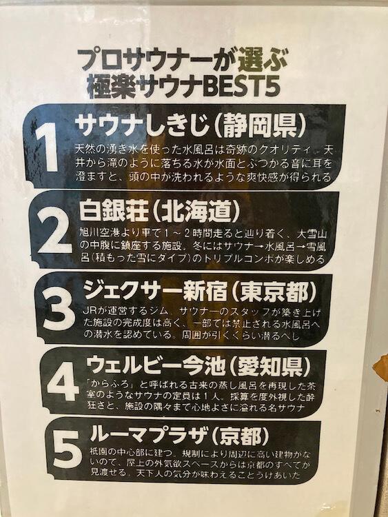 湯巡り日本一周Nバン車中泊 64湯目 サウナーの聖地!サウナしきじにはられたプロサウナーが選ぶ極楽サウナBEST5。