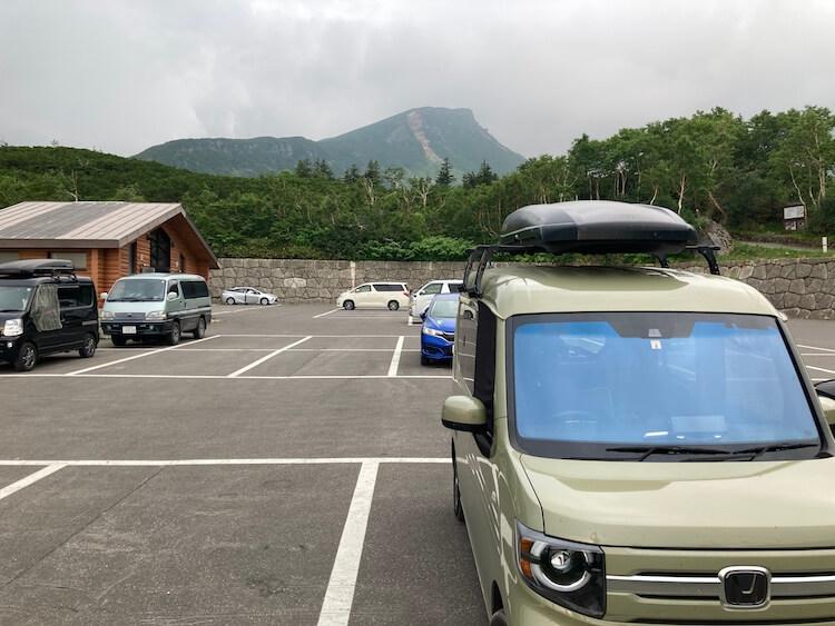 十勝岳温泉登山口駐車場で車中泊