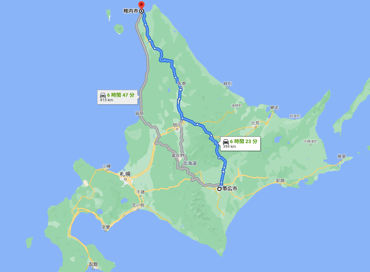 帯広から稚内までの距離は約400km